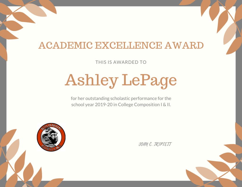 Ashley's Certificate
