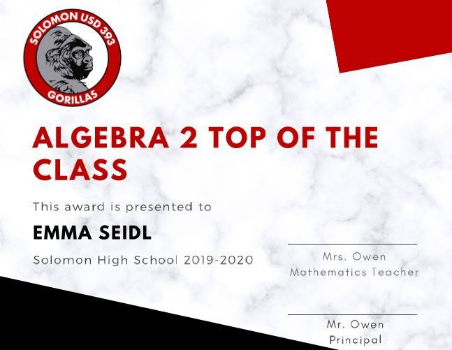 Top of the class algebra 2