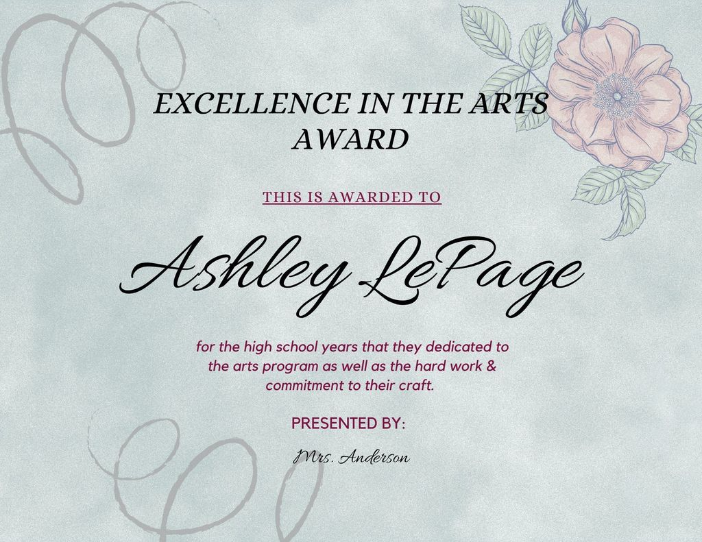 Ashley LePage Excellence in the Arts