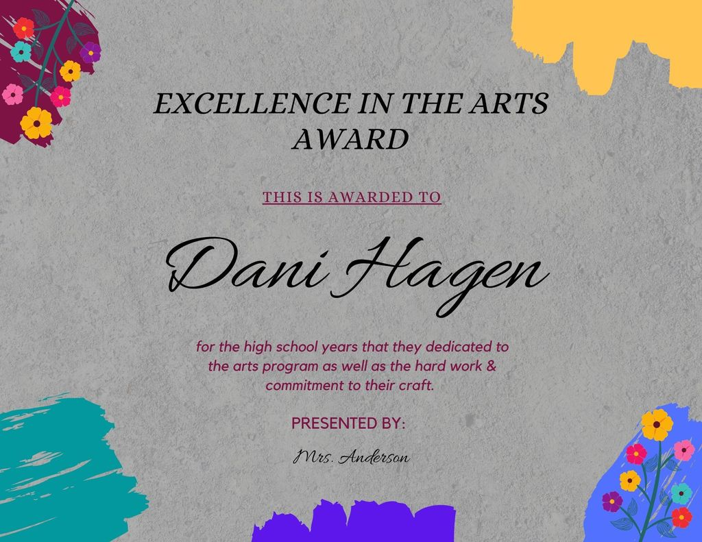 Dani Hagen Excellence in the Arts