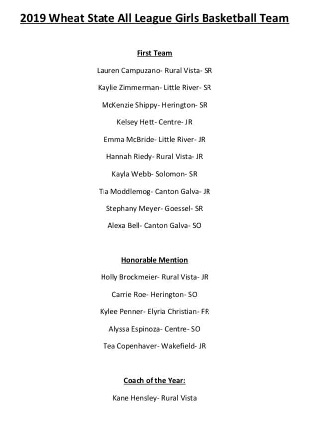 Girls WSL All-League Basketball Team